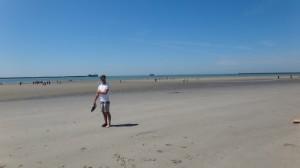 op het strand in Boulogne